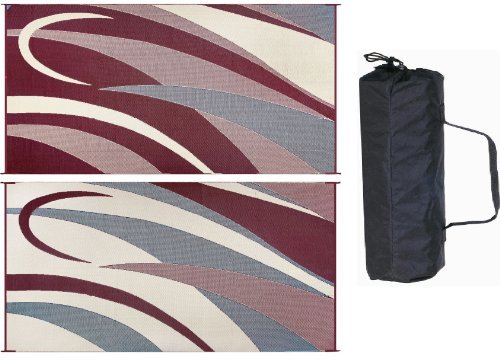 Ming's Mark GB5 Burgundy/Black 8' x 16' Graphic Reversible Mat by Ming's Mark