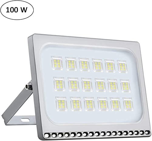 Oshide 100W New Craft Slim LED Flood Lights, 500W Halogen Bulb Equivalent, IP67 Waterproof, 11000Lm,Outdoor Floodlight for Garage, Garden, Lawn and Yard,6000-6500K Daylight White