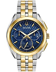 Bulova Mens 45mm CURV Collection Two-Tone Chronograph Watch