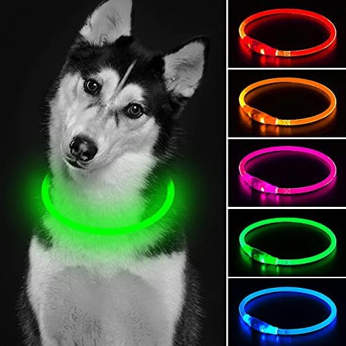 LED Dog Collar 1 Count Mini USB Rechargeable TPU Light Up Dog Collars Water Resistant Basic Dog Collars for Small Medium Large Dogs (Green)