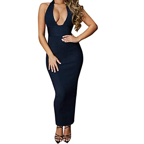 49719ee8a34dd Amazon.com: Dianli Sexy Deep V-Neck Backless Dress, Women's Tight ...