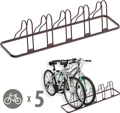 Simple Houseware 5 Bike Bicycle Floor Parking Adjustable Storage Stand, Bronze