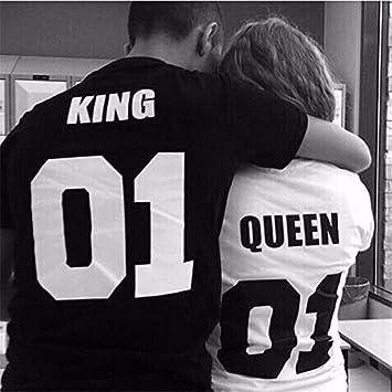 Evalubuy (TM) - Camisetas de manga corta de algodón para parejas, con texto «king» y «queen»: Amazon.es: Hogar