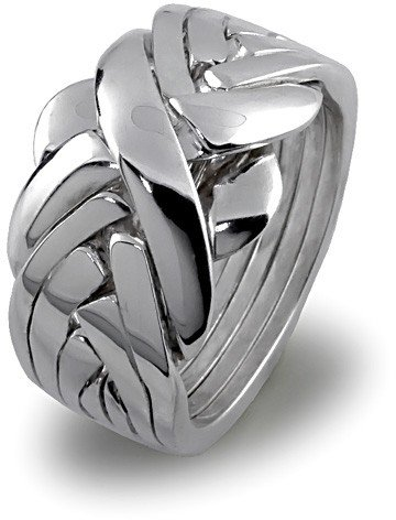 Sterling Silver Puzzle Ring 7BDS - Size: 13 (Claddagh Puzzle Ring)