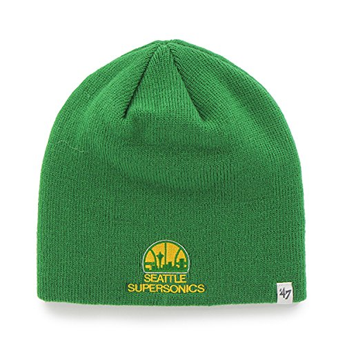 Seattle Supersonics Green Skull Cap - NBA Sonics Cuffless Winter Knit Toque Beanie Hat by '47
