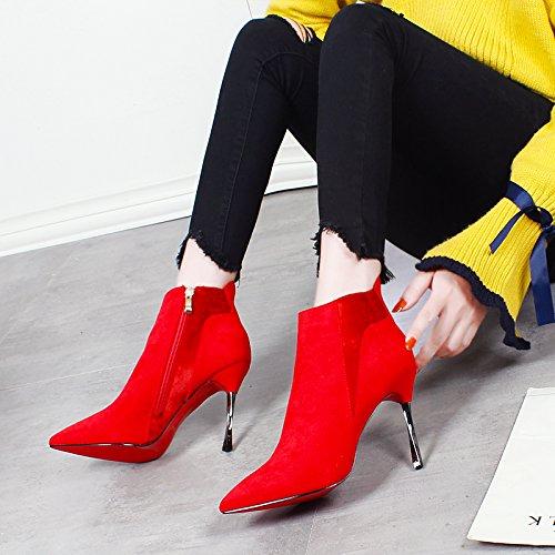Botas Y Boda Khskx Gules Rojo Las sexy Bien Señalado Con Los El Invierno Alto Tacón Martin Partido Zapatos Ante Todo De nrYXqYwHR