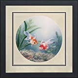 Silk Art 100% Handmade Embroidery Framed Japanese Koi Oriental Wall Hanging Art Feng Shui Fish Asian Decoration Tapestry Artwork Picture Gifts Circle Core (Picture G)