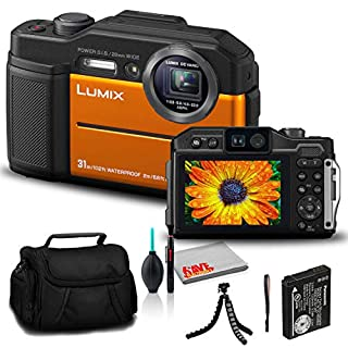 Panasonic Lumix DC-TS7 Digital Camera (Orange) (DC-TS7D) - Bundle - with 12 Inch Flexible Tripod + Camera Bag + Cleaning Set + DMW-BCM13 Battery + USB Card Reader