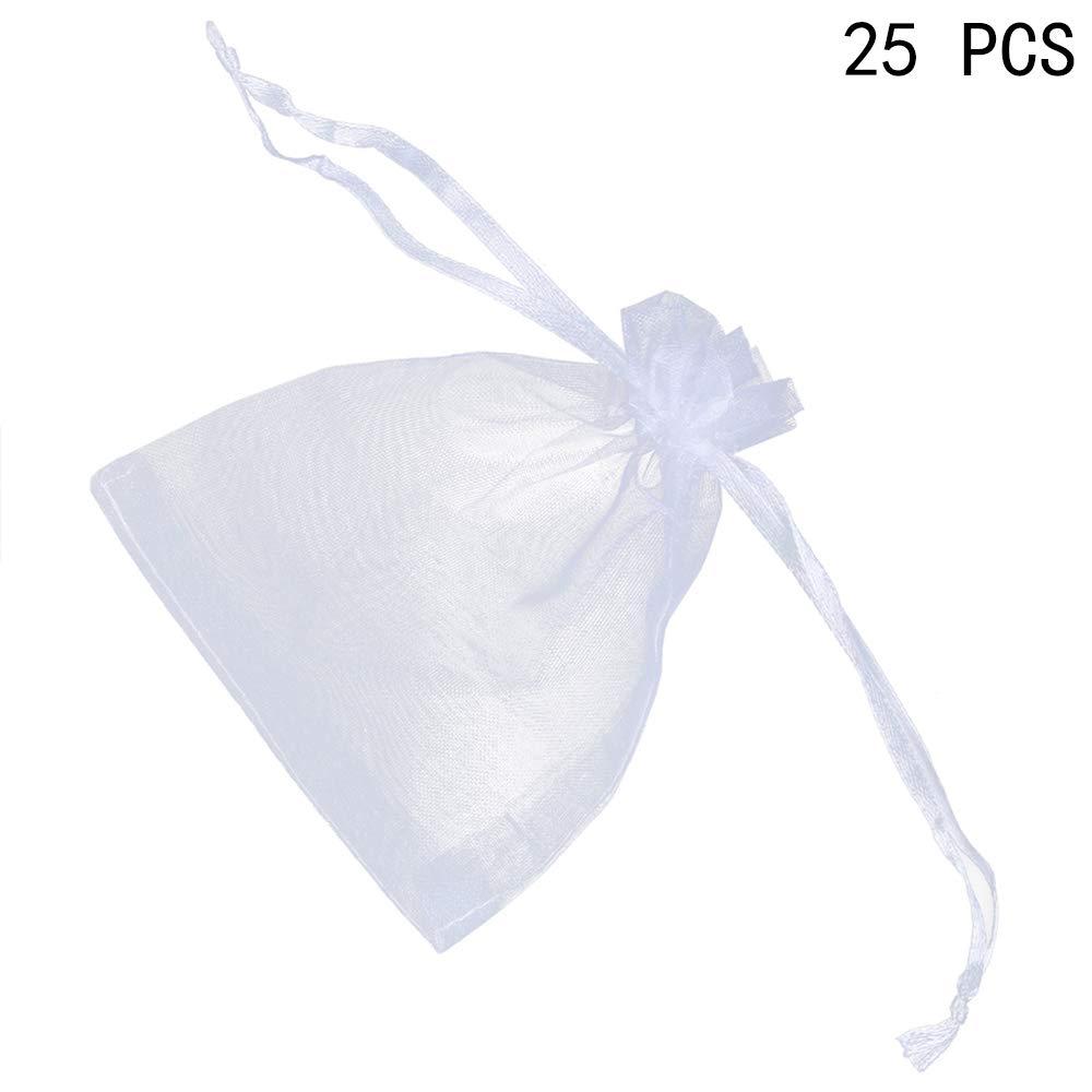 Ogquaton Bolsos de la joyerí a de la Organza Cordó n Bolsas de Caramelo Bolsas de Hilo de Banquete de Boda 25pcs Blanco