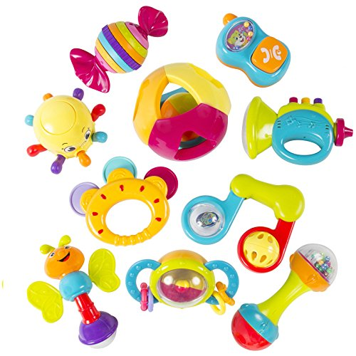 Best Choice Products To Your Kids 10 Piece Baby Rattle Toy Gift Set with Mirror, Bells & Instruments And Colorful Let Your Baby Enjoy (Baby Godzilla Costume)
