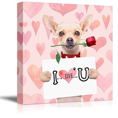 wall26 Square Dog Series Canvas Wall Art - Chihuahua Dog Holding a I Love U Board with a Rose in The Mouth - Giclee Print Gallery Wrap Modern Home Decor Ready to Hang - 12x12 inches]()