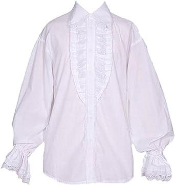 Camisa blanca y pirata con mangas abombadas buche imán blanco XL: Amazon.es: Ropa y accesorios