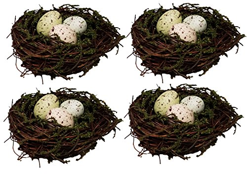 Bird Nest, Twig & Moss with Speckled Eggs, 3