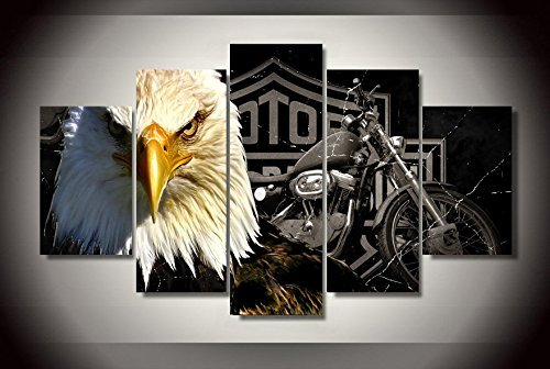 Harley Davinson Eagle motorbike print canvas decoration 5 pieces XL size by john psarris