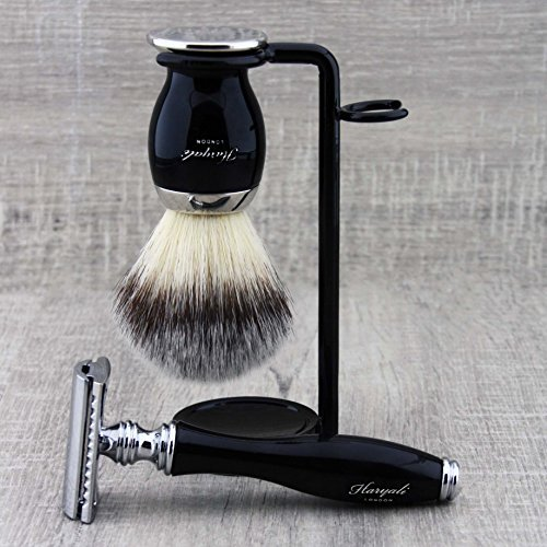 Men's Grooming Essentials: 3Pcs Shaving Set >Synthetic Brush, DE Safety (Blades NOT Included) & Dual Stand. Gift for Him