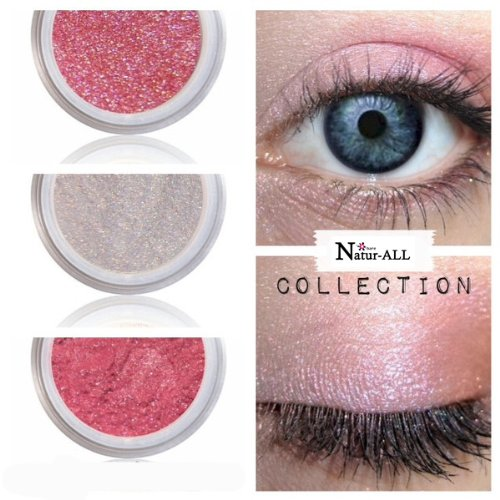 3 Eyeshadows: PINK + WHITE PEARL + GLOW PINK 100% Organic Vegan Made in Canada BARE Natur-ALL MINERALS Eye Shadow Gluten & Bismuth FREE 100% Naturally Derived with mineral power instead of petrochemicals. www.barenatur-allminerals.com