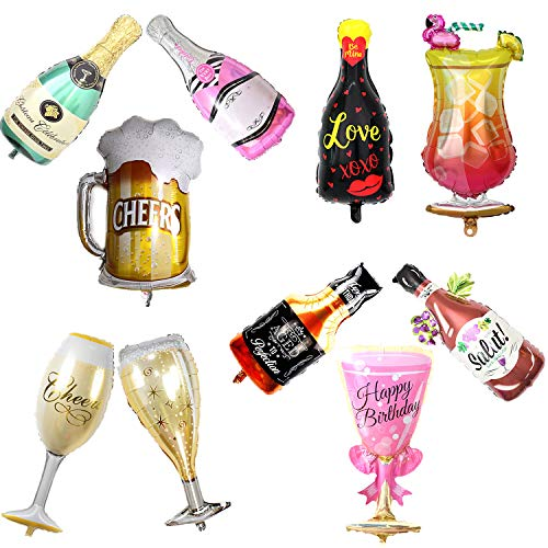 10pcs Assorted Wine Whiskey Beer Bottle Champagne Cup Foil Balloons Inflatable Helium Valentines Wedding Hen Party Decor Birthday Party Decoration Supplies -