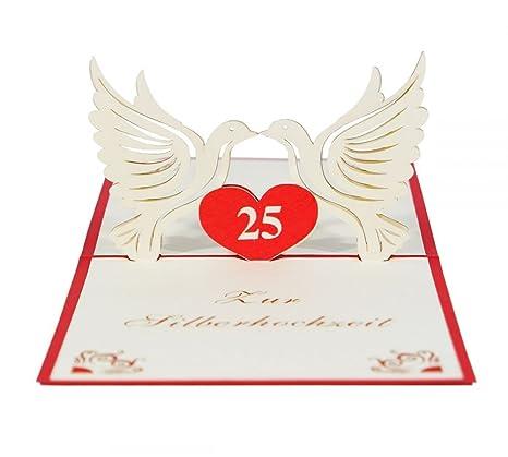 3d Carta Silberne Matrimonio I Pop Up Biglietto Di Auguri