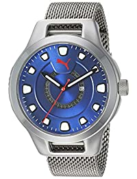 Puma P5005 Reloj Puma Caballero, Extensible Acero Plata, Caratula Azul, Analogo for Accesorios, Plata, Hombre Estándar