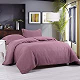 Simple&Opulence 100% Stone Washed Linen Basic Style Fashion Quilt Flax Duvet Cover Set (Purple, King)
