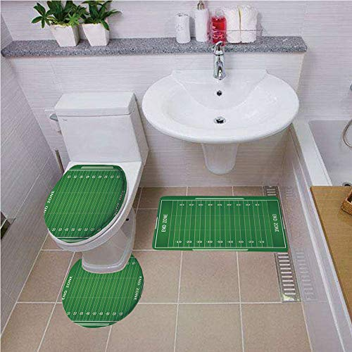 Bath mat set Round-Shaped Toilet Mat Area Rug Toilet Lid Covers 3PCS,Football,Field of the Game Strategy Tactics End Zone Touchdown Sports Competition Theme,Green White ,Bath mat set Round-Shaped Toil ()