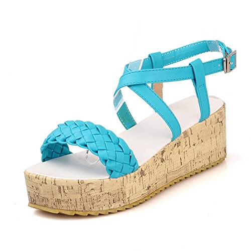 VogueZone009 Womens Open Toe Mid Heel Soft Material PU Solid Sandals with Cross weaving Blue z3hZ3Fz