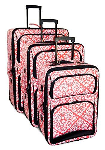 Ever Moda Damask 3 Piece Luggage Set (Coral Pink)