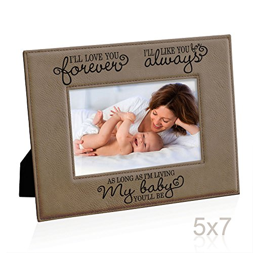 Kate Posh - I'll love you forever, I'll like you for always, as long as I'm living, my Baby you'll be, New Baby Gifts, Wedding Gifts, Valentines Gifts - Engraved Leather Picture Frame (5x7-Horizontal) -  A12719212-P