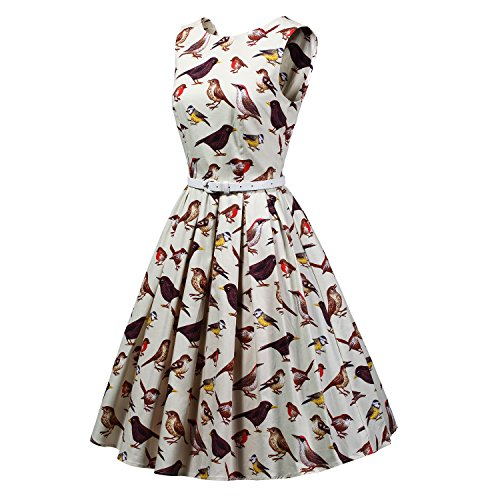 831ecf3617ba LUOUSE Women's Vintage 1950s Sleeveless birds print Cocktail Party Swing  Dresses outlet