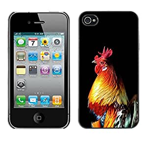 Plastic Shell Protective Case Cover || Apple iPhone 4 / 4S || Chicken Golden Rooster Black @XPTECH