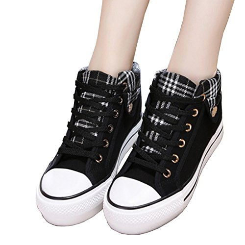 Indie Height Gym Platform Retro Lace Shoes Canvas Ladies Vintage increasing Low Top Style VECJUNIA Black Up Sneakers 0pqxvHfOnw