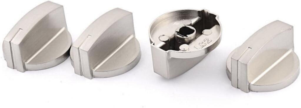 dersoning 4piezas cocina al horno cocina al horno botón de control del Fuego de calor interruptor interruptor (plata)