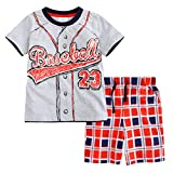 Meeyou Little Boys' Cotton Short Sleeve T-Shirt & Plaid Shorts Set(4T,Baseball Guy)