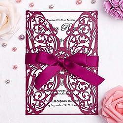 FEIYI 25 Pieces Laser Cut Wedding Invitations Cards with 5 × 7 Inch Insert for Birthday Baby Shower Wedding Rehearsal Dinner Invite (Burgundy)