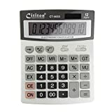 BXT Office Products 12 Digit Large Display Dual Powered Business Desktop Calculator, Silver