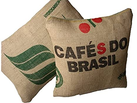Cojin CafŽ do Brasil - sacos de grano - cojin sofa - decoracion salon - cojin eco friendly - wiki pillow - 45x45cm.: Amazon.es: Hogar