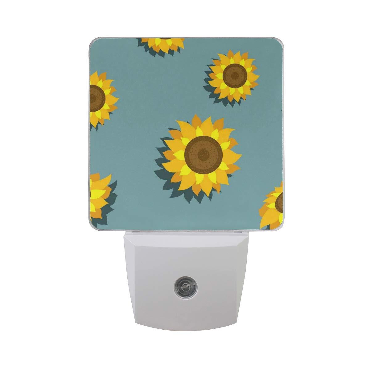 Night Light Blue Sunflower Led Light Lamp for Hallway, Kitchen, Bathroom, Bedroom, Stairs, DaylightWhite, Bedroom, Compact