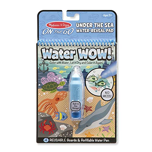 (Melissa & Doug On the Go Water Wow! Under the Sea Reusable Water-Reveal Activity Pad, Chunky-Size Water)