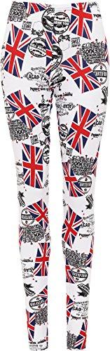 WearAll Women's Plus Size Union Jack Full Ladies Long Leggings - White (Union Jack Design)