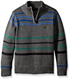 Calvin Klein Little Boys' Position Stripe Half Zip Sweater, Charcoal Heather, Large(7)
