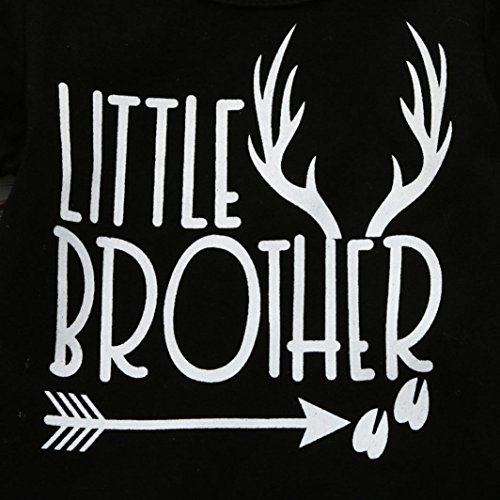 Sunbona Infant Baby Boys Little Brother Matching Letter Print Short Sleeve Romper Jumpsuit Playsuit Clothes Outfit