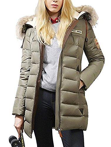 e1a2d0fc9e8a5 fochu® Mujer largo plumón abrigo con cuello de pelo cálido abrigo acolchado  chaqueta invierno (