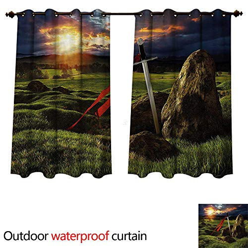 cobeDecor King Home Patio Outdoor Curtain Arthur Camelot Mythology W55 x L45(140cm x 115cm)