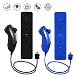 Lactivx 2 Packs Nunchuck and Wii Remote Controller Compatible with Nintendo Wii Wii U Console - with Silicone Case and Strap (Deep Blue and Black)