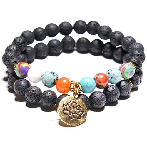 I's 2 pcs Natural Healing Power LAVA Stone Owl/Barbell/Hamsa Hand Symbol Elastic Prayer Bracelet Unisex (Hamsa Hand)