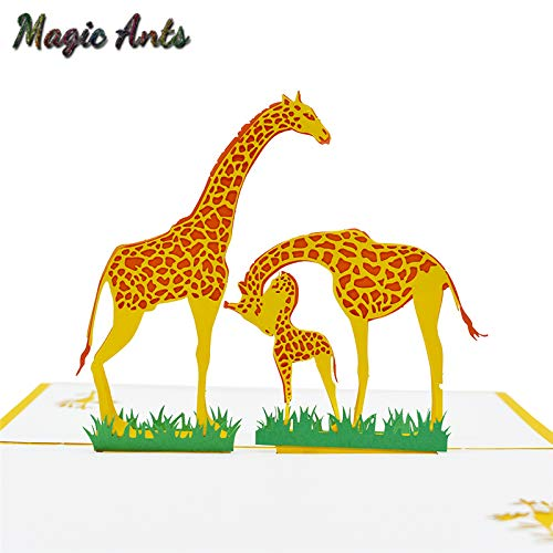 Price comparison product image Best Quality - Cards & Invitations - Giraffe Pop UP Cards Birthday with envelope sticker laser cut invitation Animal Greeting Cards postcards Birthday Gift cards - by SeedWorld - 1 PCs