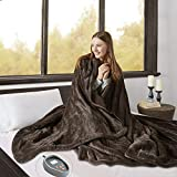 Beautyrest Microlight to Berber Elect Electric Blanket with Two 20 Heat Level Setting Controllers, Queen, Chocolate