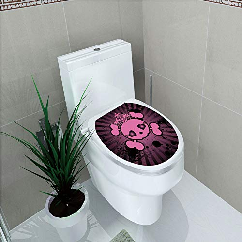 (Toilet Sticker 3D Print Design,Skull,Cute Skull Illustration with Crown Dark Grunge Style Teen Spooky Halloween Print Decorative,Pink Black,for Young)