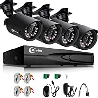 XVIM 4 Channel 720P Home Security Systems ,1080N AHD DVR w/ 4 1.0-Megapixel IR Night Vision Indoor/Outdoor Weatherproof Surveillance CCTV Security Cameras