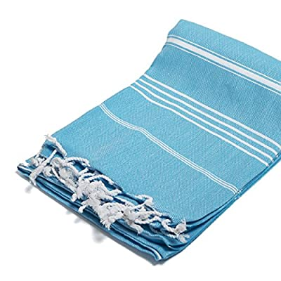 100% Cotton Turkish Peshtemal Towel, Turquoise -  - bathroom-linens, bathroom, bath-towels - 51zuNQQtOeL. SS400  -